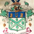detail from the grant of arms to john braham 1817 rinasce piu gloriosa it rises again more glorious