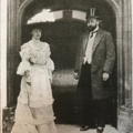 sir herbert and lady de stern at the door of strawberry hill illustrated on sketch